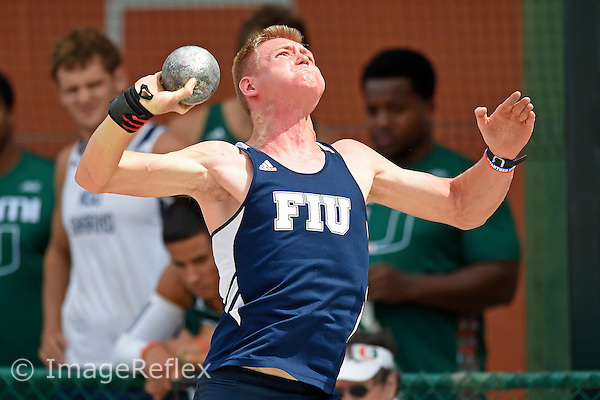 19 March 2016:  FIU's Samuel Morgan competes in the shot put during the Hurricane Invitational at Cobb Stadium in Coral Gables, Florida.