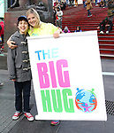 Anthony Rosenthal and Laura Heywood, aka @BroadwayGirlNYC, attend Big Hug Day: Broadway comes together to spread kindness and raise funds for Children's Hospitals on January 21, 2018 at Duffy Square, Times Square in New York City.