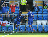 Cardiff City's Nathaniel Mendez-Laing celebrates scoring his sides first goal   <br /> <br /> Photographer Ian Cook/CameraSport<br /> <br /> The EFL Sky Bet Championship - Cardiff City v Aston Villa - Saturday August 12th 2017 - Cardiff City Stadium - Cardiff<br /> <br /> World Copyright &copy; 2017 CameraSport. All rights reserved. 43 Linden Ave. Countesthorpe. Leicester. England. LE8 5PG - Tel: +44 (0) 116 277 4147 - admin@camerasport.com - www.camerasport.com