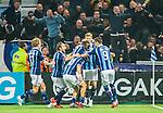 Stockholm 2015-05-25 Fotboll Allsvenskan Djurg&aring;rdens IF - AIK :  <br /> Djurg&aring;rdens Kerim Mrabti firar sitt 2-2 m&aring;l med Haris Radetinac , Kevin Walker  och Jesper Karlstr&ouml;m   framf&ouml;r Djurg&aring;rdens supportrar under matchen mellan Djurg&aring;rdens IF och AIK <br /> (Foto: Kenta J&ouml;nsson) Nyckelord:  Fotboll Allsvenskan Djurg&aring;rden DIF Tele2 Arena AIK Gnaget jubel gl&auml;dje lycka glad happy