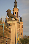 Piedra Bridge Entrance and the Basilica of Our Lady of Pilar Church, Zaragoza - Saragossa, Aragon, Spain