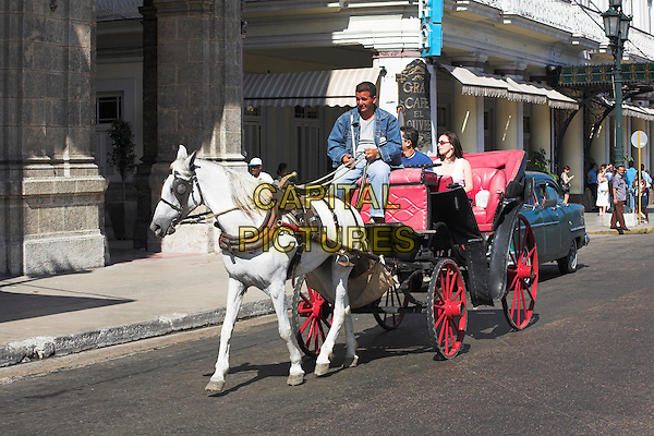 Traditional horse and carriage on a sightseeing tour of Havana city, Havana, Cuba