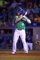 Tulsa Drillers pinch hitter Alex Verdugo (9) at bat during a game against the Arkansas Travelers on April 28, 2016 at ONEOK Field in Tulsa, Oklahoma.  Tulsa defeated Arkansas 5-4.  (Mike Janes/Four Seam Images)