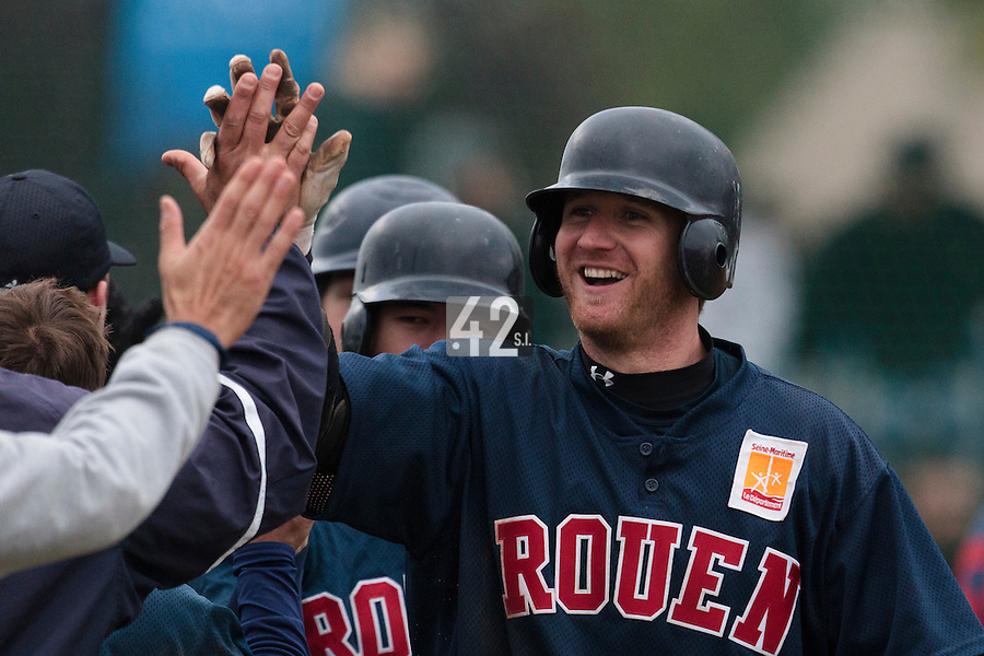 17 October 2010: Aaron Hornostaj of Rouen celebrates his two runs home run during Rouen 10-5 win over Savigny, during game 2 of the French championship finals, in Savigny sur Orge, France.