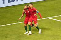 SARANSK, RUSSIA - June 25, 2018:  Portugal's Ricardo Quaresma (20) celebrates scoring Portugal's goal with Cristiano Ronaldo against Iran during their 2018 FIFA World Cup group stage match at Mordovia Arena.