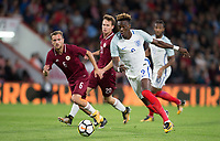 Tammy Abraham (Swansea City (on loan from Chelsea) of England U21 in action  during the UEFA EURO U-21 First qualifying round International match between England 21 and Latvia U21 at the Goldsands Stadium, Bournemouth, England on 5 September 2017. Photo by Andy Rowland.