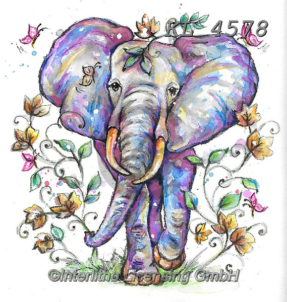 Interlitho-Theresa, REALISTIC ANIMALS, REALISTISCHE TIERE, ANIMALES REALISTICOS, paintings+++++,elephant,KL4578,#a#, EVERYDAY ,innovative