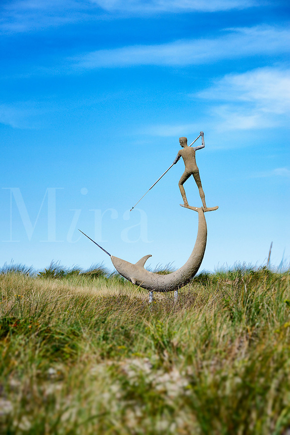Swordfish Harpooner sculpture, Menemsha, Chilmark, Martha's Vineyard, Massachusetts, USA