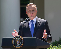 President Andrzej Duda of the Republic of Poland, makes remarks as he and United States President Donald J. Trump conduct a joint press conference in the Rose Garden of the White House in Washington, DC on Wednesday, June 12, 2019. <br /> Credit: Ron Sachs / CNP/AdMedia
