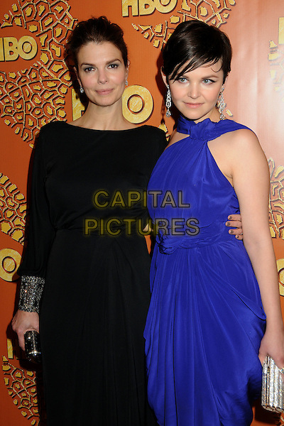 JEANNE TRIPPLEHORN & GINNIFER GOODWIN .HBO's 2010 67th Golden Globe Awards Post Party held at the Beverly Hilton Hotel, Beverly Hills, California, USA..January 17th, 2009.globes half length purple blue dress sleeves cuffs bracelets  silver clutch bag black.CAP/ADM/BP.©Byron Purvis/Admedia/Capital Pictures
