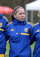 20150404 - FORST , GERMANY  : Ukrainian Anastasiya Sirmay pictured during the soccer match between Women Under 19 teams of Belgium and Ukraine , on the first matchday in group 5 of the UEFA Elite Round Women Under 19 at WaldseeStadion , Forst , Germany . Saturday 4th April 2015 . PHOTO DAVID CATRY