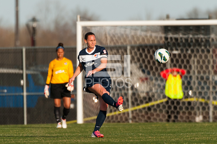 Sky Blue FC defender Christie Rampone (3). Sky Blue FC defeated the Western New York Flash 1-0 during a National Women's Soccer League (NWSL) match at Yurcak Field in Piscataway, NJ, on April 14, 2013.