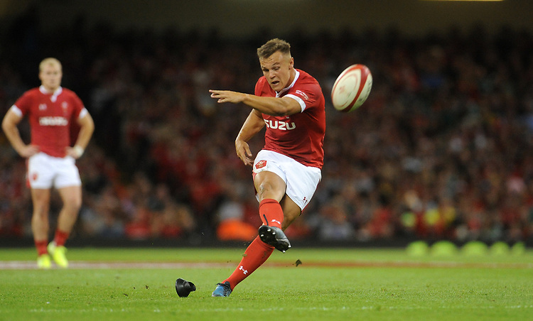 Wales Jarrod Evans kicks a penalty<br /> <br /> Photographer Ian Cook/CameraSport<br /> <br /> 2019 Under Armour Summer Series - Wales v Ireland - Saturday 31st August 2019 - Principality Stadium - Cardifff<br /> <br /> World Copyright © 2019 CameraSport. All rights reserved. 43 Linden Ave. Countesthorpe. Leicester. England. LE8 5PG - Tel: +44 (0) 116 277 4147 - admin@camerasport.com - www.camerasport.com