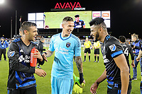 San Jose, CA - Saturday, March 11, 2017: Chris Wondolowski, David Bingham, Anibal Godoy during a Major League Soccer (MLS) match between the San Jose Earthquakes and the Vancouver Whitecaps FC at Avaya Stadium.