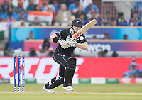 Henry Nicholls (New Zealand)  pushes into the on side during India vs New Zealand, ICC World Cup Semi-Final Cricket at Old Trafford on 9th July 2019