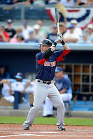 Boston Red Sox first baseman Mike Carp #38 during a Grapefruit League Spring Training game against the Tampa Bay Rays at Charlotte County Sports Park on February 25, 2013 in Port Charlotte, Florida.  Tampa Bay defeated Boston 6-3.  (Mike Janes/Four Seam Images)