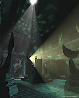 Another view of the 3D model. In the original script Kailani (Vanessa Hudgens) is lowered through a hole in the ceiling of the tomb.