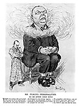 Mr Punch's Personalities. XII. - Sir Arthur Conan Doyle. (cartoon showing Arthur Conan Doyle shackled to Sherlock Holmes and surrounded by pipe smoke)