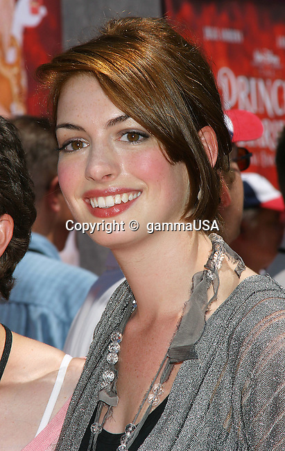 Anne Hathaway arriving at The Princess Diaries 2: Royal Engagement Premiere at the Disney's California Adventure AMC Downtown Disney in Anaheim,. August 7, 2004.