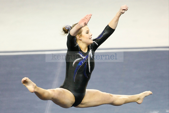 Junior Audrey Harrison performs her floor routine at UK gymnastics vs. LSU at Memorial Coliseum in Lexington, Ky., on Friday, February 1, 2013. Harrison had the highest floor routine score with 9.850. Photo by Tessa Lighty | Staff