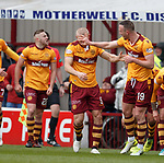 31.3.2018: Motherwell v Rangers: <br /> Tom Aldred celebrates with Curtis Main