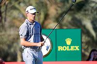 Rasmus Højgaard (DEN) on the 14th tee during the 2nd round of the Abu Dhabi HSBC Championship, Abu Dhabi Golf Club, Abu Dhabi,  United Arab Emirates. 17/01/2020<br /> Picture: Fran Caffrey   Golffile<br /> <br /> <br /> All photo usage must carry mandatory copyright credit (© Golffile   Fran Caffrey)