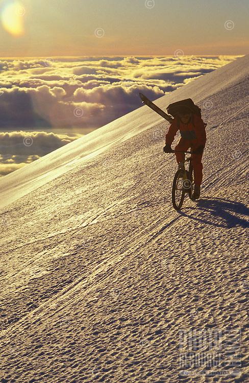 Mountain biking on Mauna Kea getting ready to ski down.