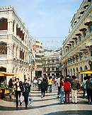 CHINA, Macau, Asia, The famous swirling black and white pavements of Largo do Senado square in central Macau