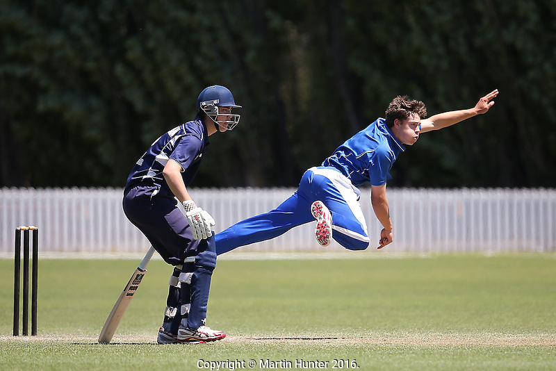 St Kentigern College vs. Otago Boys High during the 2016 Secondary School Boys First XI Cup Finals at Bert Sutcliffe Oval in Lincoln, New Zealand on Friday, 9 December 2016. Photo: Martin Hunter/ lintottphoto.co.nz