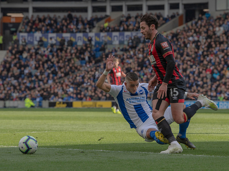 Brighton & Hove Albion's Anthony Knockaert (left) dangerous challenge on Bournemouth's Adam Smith (right) resulting in a red card <br /> <br /> Photographer David Horton/CameraSport<br /> <br /> The Premier League - Brighton and Hove Albion v Bournemouth - Saturday 13th April 2019 - The Amex Stadium - Brighton<br /> <br /> World Copyright © 2019 CameraSport. All rights reserved. 43 Linden Ave. Countesthorpe. Leicester. England. LE8 5PG - Tel: +44 (0) 116 277 4147 - admin@camerasport.com - www.camerasport.com