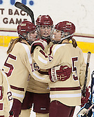 Emily Field (BC - 15), Ashley Motherwell (BC - 18), Alex Carpenter (BC - 5) - The Boston College Eagles defeated the visiting University of Maine Black Bears 10-0 on Saturday, December 1, 2012, at Kelley Rink in Conte Forum in Chestnut Hill, Massachusetts.