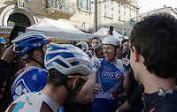 race winner Arnaud Démare (FRA/FDJ) celebrated by his teammates after winning the 107th Milano-Sanremo (2016)