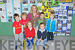 Róisin O'Connor and Abi Bishop with Caleb Morris, Kieran Roche, Emmet Daly and Shane O'Donnell who started school  in Meenkilly NS, Abbeyfeale, pictured here with teacher Bernie Leonard last Wednesday.
