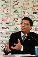 SAO PAULO, 04 DE FEVEREIRO, 2013  - PALMEIRAS - COLETIVA PAULO NOBRE  E GASTON KRAUSE - O Presidente do Palmeiras Paulo Nobre e o diretor de franquias da Meltex, Gaston Krause, cedem coletiva de imprensa, na tarde dessa segunda-feira (04), na Academia de Futebol.  O Palmeiras, em parceria com a empresa de gestão de marcas Meltex, vai inaugurar a primeira rede de lojas oficiais do clube, a Academia Store, aberta para o público dia 07/02, rua Augusta, 2078, zona central da capital - FOTO: LOLA OLIVEIRA - BRAZIL PHOTO PRESS