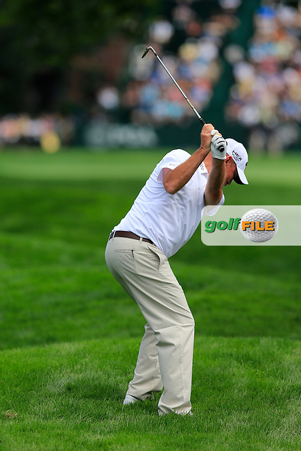 Thomas Bjorn (DEN) in action during Tuesday's Practice Day of the 95th US PGA Championship 2013 held at Oak Hills Country Club, Rochester, New York.<br /> 6th August 2013.<br /> Picture: Eoin Clarke www.golffile.ie