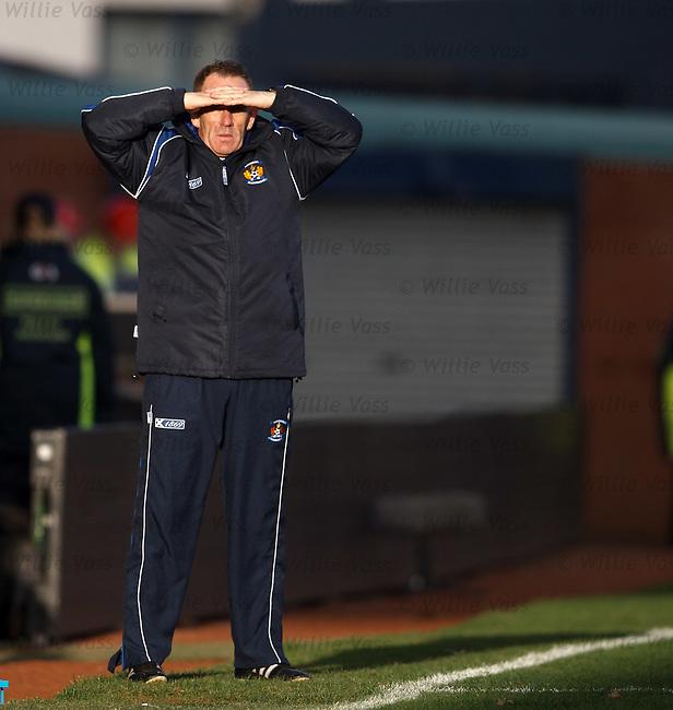 Kenny Shiels shields his eyes