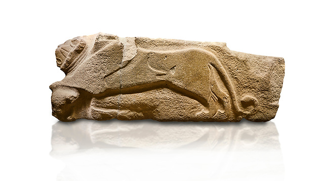 Alaca Hoyuk - Hittite lion sculptures corner Stone. . Andesite. Alacahoyuk, 1399 - 1301 B.C. Anatolian Civilisations Museum, Ankara, Turkey.<br /> <br /> Corner stone decorated by lion, bull and winged sun disk. It was discovered at the right side of the Alacahoyuk sphinx door. The lion puts his front legs on a small bull. There is a Hittite winged sun disk on the abdomen of the lion, which can be seen from a lower location. The position of the sun course indicates that the stone is situated in a high place. <br /> <br /> Against a white background.