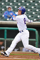 Chris Coghlan #8 of the Iowa Cubs swings against the Omaha Storm Chasers at Principal Park on May 1, 2014 in Des Moines, Iowa. The Cubs  beat Storm Chasers 1-0.   (Dennis Hubbard/Four Seam Images)