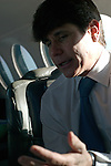 Beleaguered Illinois Governor Rod Blagojevich rides in the state airplane on his way to speak in his own defense at his impeachment hearing at the state capitol in Springfield, Illinois on January 29, 2009.