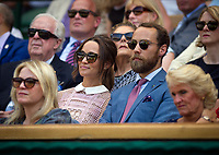 Pippa Middleton on Centre Court Day 3<br /> <br /> Photographer Ashley Western/CameraSport<br /> <br /> Wimbledon Lawn Tennis Championships - Day 3 - Wednesday 5th July 2017 -  All England Lawn Tennis and Croquet Club - Wimbledon - London - England<br /> <br /> World Copyright &not;&copy; 2017 CameraSport. All rights reserved. 43 Linden Ave. Countesthorpe. Leicester. England. LE8 5PG - Tel: +44 (0) 116 277 4147 - admin@camerasport.com - www.camerasport.com