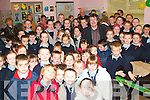SCHOOLS OUT: Gabriel Fitzmaurice pictured here with fifth and sixth class pupils in Moyvane National School on his second last day at the school.   Copyright Kerry's Eye 2008