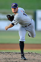 Pensacola Blue Wahoos starting pitcher Tony Cingrani #13 delivers a pitch during game two of a double header against the  Tennessee Smokies at Smokies Park on July 30, 2012 in Kodak, Tennessee. The Smokies won both ends of the double header 6-3 in game one and 3-2 in game two. (Tony Farlow/Four Seam Images).