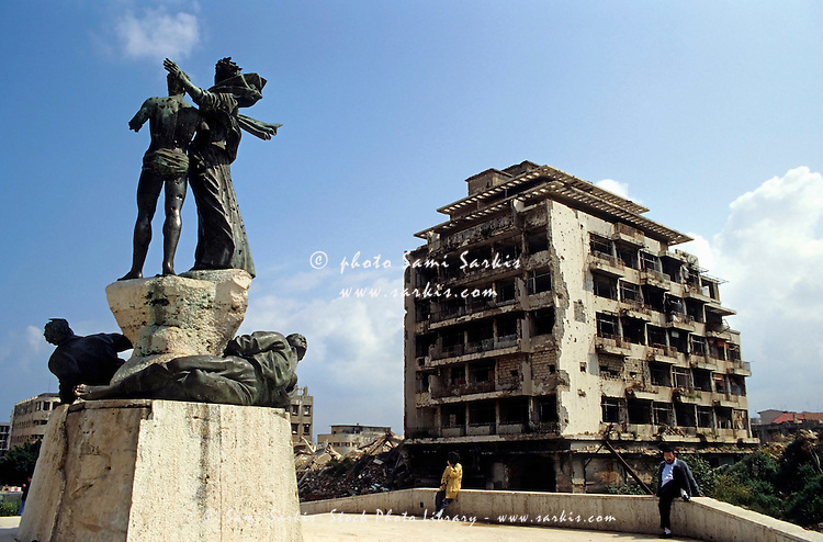 Bullet holes from the Lebanese Civil War visible in the statues in Martyrs' Square, Beirut, Lebanon.