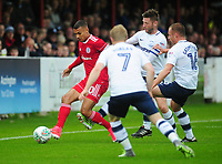 Accrington Stanley's Kayden Jackson under pressure from Preston North End's Paul Gallagher<br /> <br /> Photographer Kevin Barnes/CameraSport<br /> <br /> The Carabao Cup - Accrington Stanley v Preston North End - Tuesday 8th August 2017 - Crown Ground - Accrington<br />  <br /> World Copyright &copy; 2017 CameraSport. All rights reserved. 43 Linden Ave. Countesthorpe. Leicester. England. LE8 5PG - Tel: +44 (0) 116 277 4147 - admin@camerasport.com - www.camerasport.com