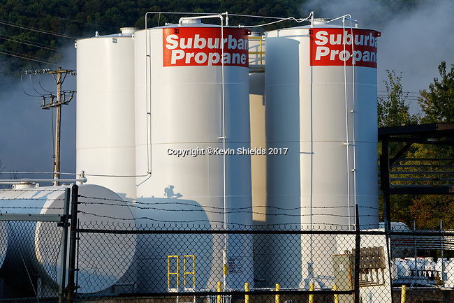 Propane storage tanks, Cortland, NY, USA
