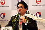 September 26, 2017, Tokyo, Japan - Japan Airlines (JAL) president Yoshiharu Ueki announces tthey and Hawaiian Airlines agreed a comprehensive partnership at the JAL headquarters in Tokyo on Thursday, September 26, 2017. Their agreement provides for extensive code sharing, lounge access and frequent flyer program reciprocity.   (Photo by Yoshio Tsunoda/AFLO) LWX -ytd