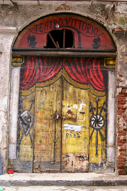 Old painted doors of Teatro Vittorio, Palermo,Sicily,Italy