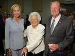 Barbara Bush with Alice and Keith Mosing at the VIP Reception for the Celebration of Reading event at the Hobby Center Thursday  April 21,2016(Dave Rossman Photo)