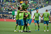 SEATTLE, WA - NOVEMBER 10: The Sounders celebrate after defender Kelvin Leerdam #18 scored a goal during a game between Toronto FC and Seattle Sounders FC at CenturyLink Field on November 10, 2019 in Seattle, Washington.