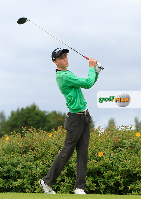 Luke O'Neill (Connemara) on the 18th tee during R1 of the 2016 Connacht U18 Boys Open, played at Galway Golf Club, Galway, Galway, Ireland. 05/07/2016. <br /> Picture: Thos Caffrey | Golffile<br /> <br /> All photos usage must carry mandatory copyright credit   (&copy; Golffile | Thos Caffrey)